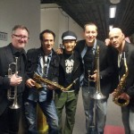 Backstage at the Colliseum with Alex To and the horn section for Rubberband Easy 2012 Concert